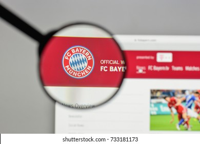 Milan, Italy - August 10, 2017: FC Bayern Munchen logo on the website homepage.