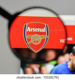 Milan, Italy - August 10, 2017: FC Arsenal logo on the website homepage.