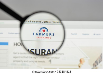 Milan, Italy - August 10, 2017: Farmers Insurance Exchange logo on the website homepage.