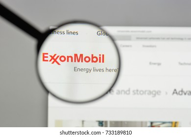 Milan, Italy - August 10, 2017: Exxon logo on the website homepage.