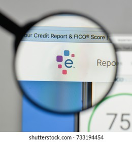 Milan, Italy - August 10, 2017: Experian logo on the website homepage.