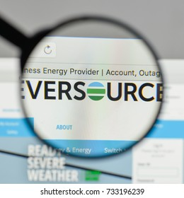 Milan, Italy - August 10, 2017: Eversource Energy logo on the website homepage.