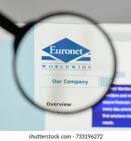 Milan, Italy - August 10, 2017: Euronet Worldwide logo on the website homepage.