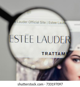 Milan, Italy - August 10, 2017: Estee Lauder logo on the website homepage.