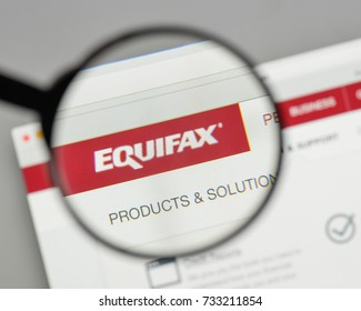 Milan, Italy - August 10, 2017: Equifax logo on the website homepage.