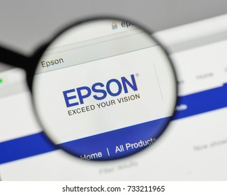 Milan, Italy - August 10, 2017: Epson logo on the website homepage.