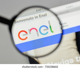 Milan, Italy - August 10, 2017: Enel logo on the website homepage.