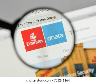 Milan, Italy - August 10, 2017: Emirates Group logo on the website homepage.