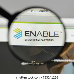 Milan, Italy - August 10, 2017: Enable Midstream Partners logo on the website homepage.