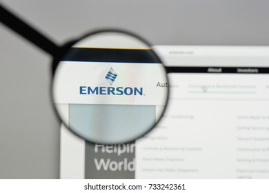 Milan, Italy - August 10, 2017: Emerson logo on the website homepage.