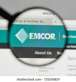 Milan, Italy - August 10, 2017: EMCOR Group logo on the website homepage.