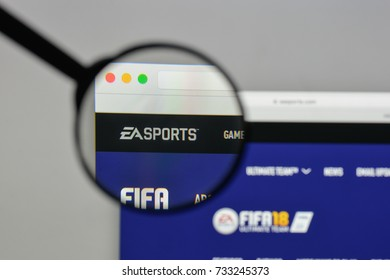 Milan, Italy - August 10, 2017: Electronic Arts logo on the website homepage.
