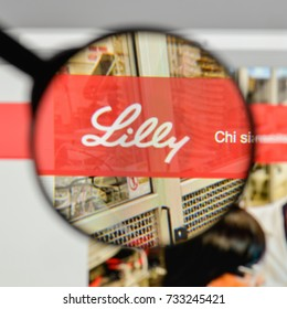 Milan, Italy - August 10, 2017: EliLilly logo on the website homepage.