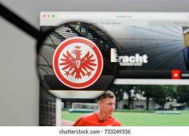 Milan, Italy - August 10, 2017: Eintracht Francoforte logo on the website homepage.