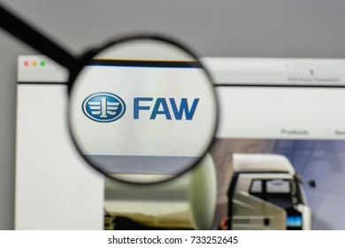 Milan, Italy - August 10, 2017: China FAW Group logo on the website homepage.
