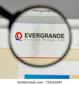 Milan, Italy - August 10, 2017: China Evergrande Group logo on the website homepage.