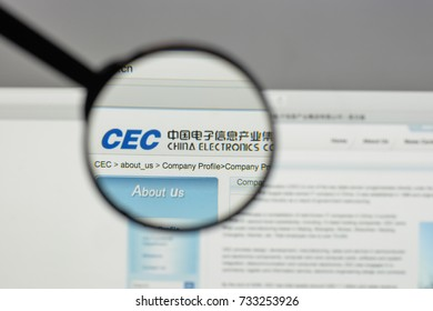 Milan, Italy - August 10, 2017: China Electronics logo on the website homepage.
