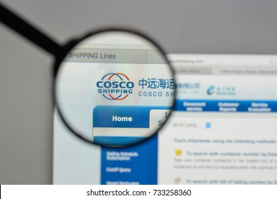 Milan, Italy - August 10, 2017: China COSCO Shipping logo on the website homepage.