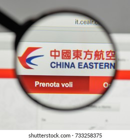 Milan, Italy - August 10, 2017: China Eastern Airlines logo on the website homepage.