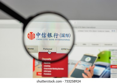 Milan, Italy - August 10, 2017: China CITIC Bank logo on the website homepage.