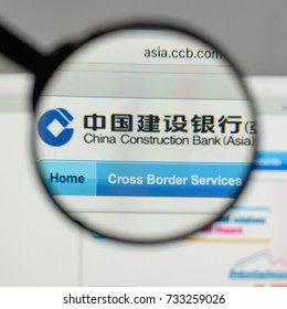 Milan, Italy - August 10, 2017: China Construction Bank logo on the website homepage.