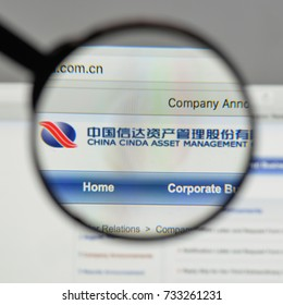 Milan, Italy - August 10, 2017: China Cinda H logo on the website homepage.