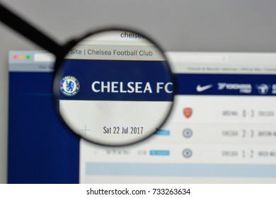 Milan, Italy - August 10, 2017: Chelsea FC logo on the website homepage.