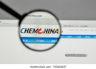 Milan, Italy - August 10, 2017: Chem China logo on the website homepage.