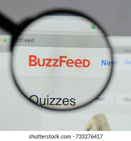 Milan, Italy - August 10, 2017: Buzzfeed logo on the website homepage.