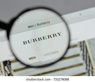 Milan, Italy - August 10, 2017: Burberry logo on the website homepage.