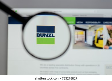 Milan, Italy - August 10, 2017: Bunzl logo on the website homepage.
