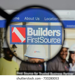 Milan, Italy - August 10, 2017: Builders First Source logo on the website homepage.