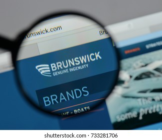 Milan, Italy - August 10, 2017: Brunswick logo on the website homepage.