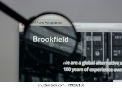 Milan, Italy - August 10, 2017: Brookfield Asset Management logo on the website homepage.