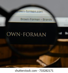 Milan, Italy - August 10, 2017: Brown Forman logo on the website homepage.