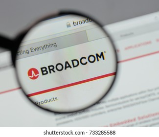 Milan, Italy - August 10, 2017: Broadcom logo on the website homepage.