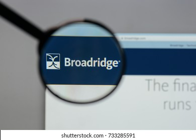 Milan, Italy - August 10, 2017: Broadridge Financial Solutions logo on the website homepage.