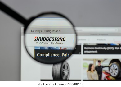Milan, Italy - August 10, 2017: Bridgestone logo on the website homepage.