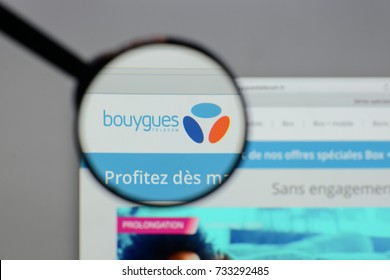 Milan, Italy - August 10, 2017: Bouygues logo on the website homepage.
