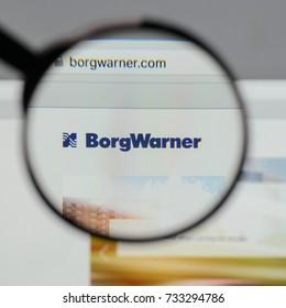 Milan, Italy - August 10, 2017: Borg Warner logo on the website homepage.