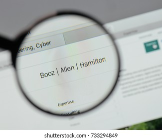 Milan, Italy - August 10, 2017: Booz Allen Hamilton Holding logo on the website homepage.