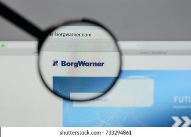 Milan, Italy - August 10, 2017: Borg Warner logo on the website homepage.