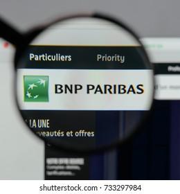 Milan, Italy - August 10, 2017: BNP Paribas logo on the website homepage.