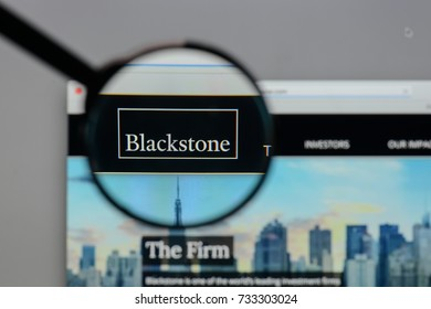 Milan, Italy - August 10, 2017: Blackstone Group logo on the website homepage.