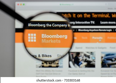 Milan, Italy - August 10, 2017: Bloomberg logo on the website homepage.