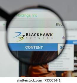 Milan, Italy - August 10, 2017: Blackhawk Network Holdings logo on the website homepage.