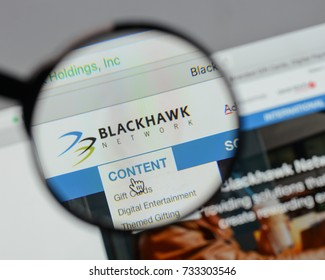 Milan, Italy - August 10, 2017: Blackhawk Network Holdings logo on the website homepage.