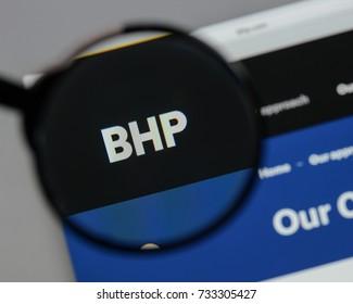 Milan, Italy - August 10, 2017: BHP Billiton logo on the website homepage.