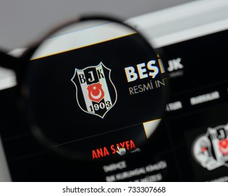 Milan, Italy - August 10, 2017: BesiktasIstanbul logo on the website homepage.