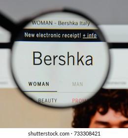 Milan, Italy - August 10, 2017: Bershka logo on the website homepage.